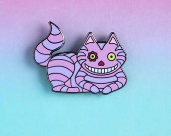 Cheshire Cat Enamel Pin - Disney Alice in Wonderland hard enamel pin - lapel pin badge - cat lapel pin - cat gifts - cat lady jewellery