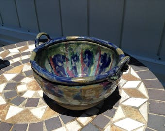 Large Unique one of a kind fine art ceramics 2 handled wish bowl, signed and dated by the artist