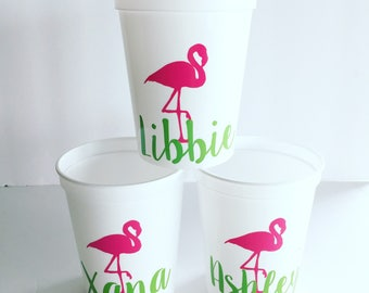Personalized Flamingo Stadium Cup  - Bachelorette Cup - Sorority - Beach Cup - Pool