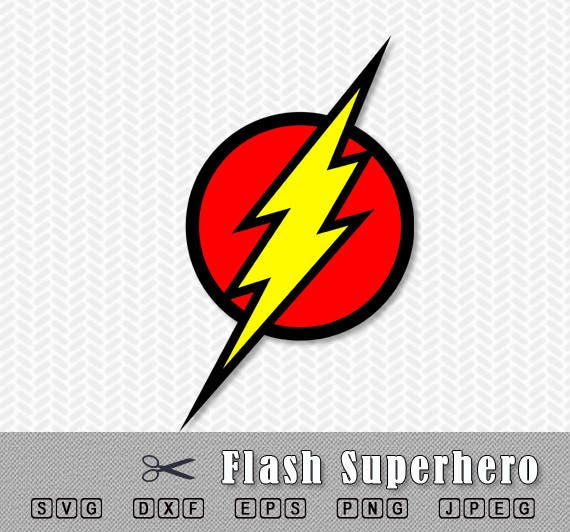 Flash Logo Superhero Layered Svg Dxf Png Vector File Silhouette