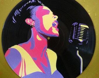 """Billie Holiday Stencil on 12"""" Vinyl Record"""