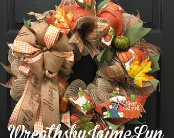 Fall wreath, thanksgiving wreath, autumn wreath, scarecrow wreath, autumn decor, front door wreath for fall, happy fall wreath,fall decor