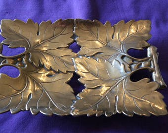 Tray/centerpiece leaves handmade brass MADE IN ITALY