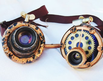 Steampunk Goggles  Wedding or special event:black and bronze color Handmade Goggles Glasses cyber gothic  Vintage idea Optical lenses goggle