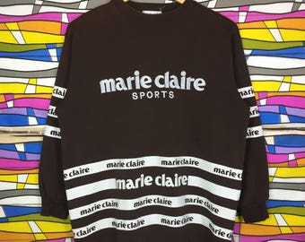 Rare!! MARIE CLAIRE SPORTS Sweatshirt Big Logo Spellout