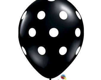 "Polka Dots Balloon 11"", Black Balloon with White Polka Dots, set of 6"