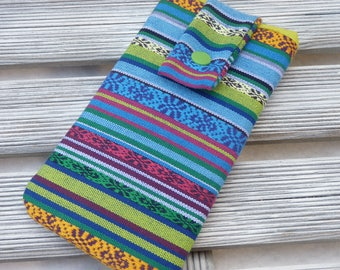 Ethnic phone pouch, Cell phone case, Phone pouch, Fabric phone case, Tribal,  Cell phone cover, cellphone, gift for her, Green, stripes