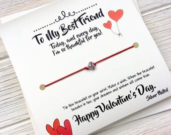 Valentines Day Best Friend Valentines Day Friend Wish Bracelet Valentines Card Best Friend Valentines Gift Best Friend Galentines Day