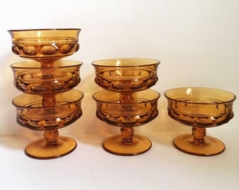 6 Indiana Glass Amber Thumbprint Sherbet/Coupe Glasses Kings Crown // 1960's