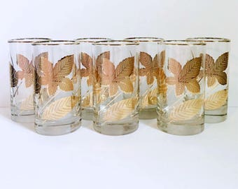 7 Libbey Gold Leaf Highball Glasses // 1960's