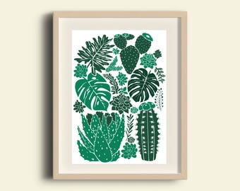 Art Print - Illustration Cacti and succulents