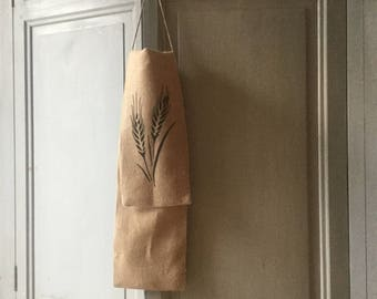 burlap and white linen bread bag