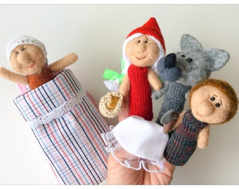 "Finger puppets ""Little Red Riding Hood"" wool / fingers puppet the little Red Riding Hood"
