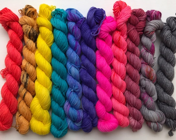 20g Mini Skein 80/20 superwash merino/nylon, sock, 4 ply, fingering, hand dyed, bright colour pop