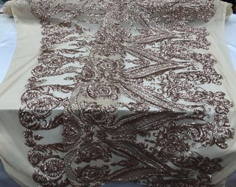 2 Way Stretch Fabric - Khaki Embroidered Sequins Lace Fashion - By The Yard