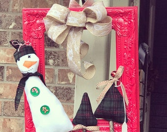Christmas Snowman Frame Wreath