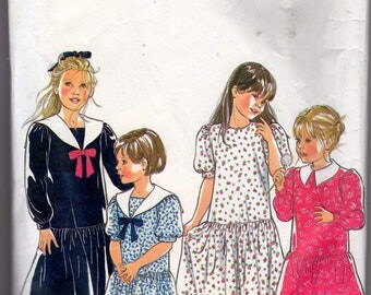 New Look Simplicity 6474-1980's short dress and long dress with collar and round neck size 3-10