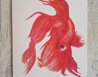 Siamese Fighting Fish / Betta - Blank art card