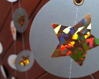 "Silver&Gold 3"" circle garland, paper garland, Wedding decor, Party decor, Paper string decor"