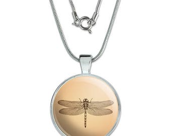 "Dragonfly Vintage Insect 1"" Pendant with Sterling Silver Plated Chain"