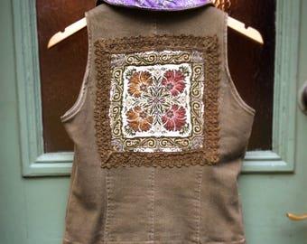 Upcycled Slow Fashion Reclaimed Cotton Vest Embellished Waistcoast Silk Vintage