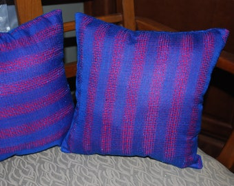 12 Inch Blue On Red Pillow from recycled scarf