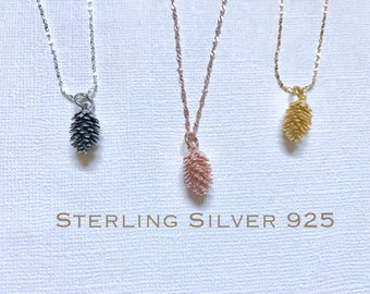 Sterling Silver Pine cone necklace, Silver Pinecone necklace, Bridesmaid jewelry, Tiny Pine cone necklace