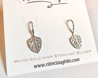 Sale! White Gold over Sterling Silver leaves earrings, leaves earrings, dangle leaf earrings, nature earrings, leaf jewelry, drop leaf