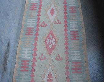 SALE 45% OFF wool Handmade Faded Moroccan Kelim runner
