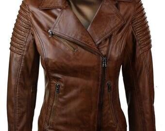 Woman's Slim Fit Brown Wax Genuine Real Leather Biker Jacket