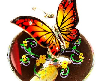Glass Baron Butterfly, Monarch With Crystal