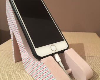 Decoupage shoe mobile phone stand ~ mobile phone charging station ~ bedside tidy ~ gift for her ~ mobile phone accessories