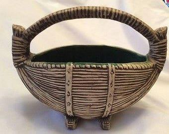 Vintage Rare and unique McCoy pottery handled planter matte, boat shaped Mint