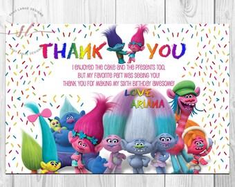 Trolls Thank You Card
