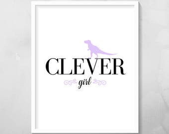 Clever Girl Print, Pink/Purple/Black, 8x10 inches, Digital Download Print, Printable Wall Art