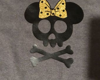 Minnie Mouse skull and crossbones