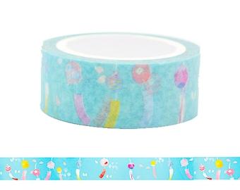 Wind Chimes Washi Tape / Japanese Blue Pattern Masking Tape
