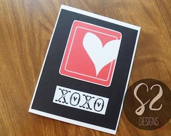 Handmade Black XOXO Valentine Card