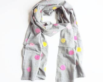 Khadi Cotton Scarf in Cream - Grey - Pink/Yellow Polka Dots