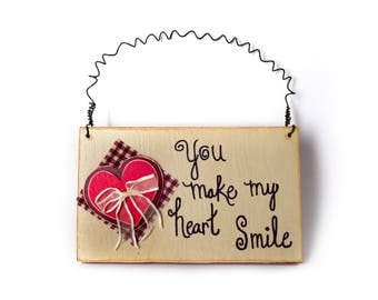 You Make My Heart Smile Wall Hanging Valentine's Decor Wood Wall Hanging Valentine's Gift Valentine Wall Decor Wood Love Sign Anniversary