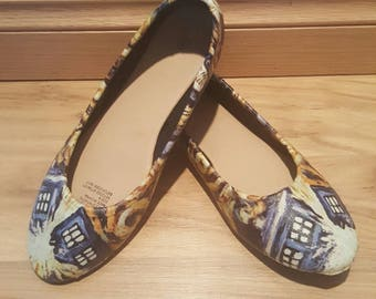 Doctor who - Womens flat shoes - sizes 6-11 - Custom Made - star doctor