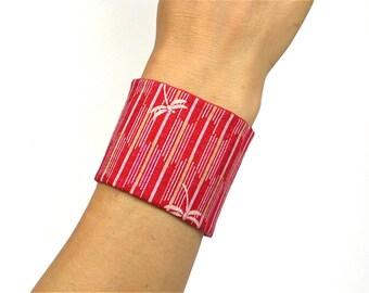 Japanese Fabric, Cuff Bracelet, Obi Style, Taylor-Made, Dragonflies Arrows, Dark red beige velvet - Oriental / asian