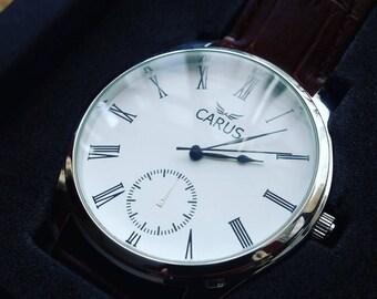 Carus Origin watch leather strap sub dial