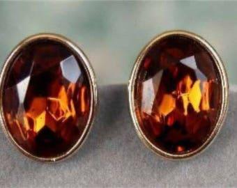 Vintage Smokey Gold Brown Crystal Pierced Stud Earrings 970