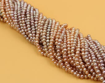 4 - 5 mm Freshwater Pearls Oval pearl Natural Purple / Champagne Gold loose pearl 15'' Full Strand