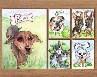 Group Pet Caricatures (6 or more)