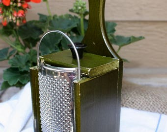 Sale! Vintage Green Wood Cheese Grater Made In England