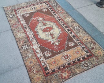 Vintage Turkish rug, Earth tones, Boho rug, Home living, Home decor, Fine art, Area rug, Organic, Distressed rug,87xx151 cm//2.8x4.9 feet