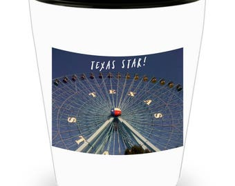 SET of 4! TEXAS Ferris Wheel, Longhorn, Texas Flag on Barn, Windmill on Cool Ceramic Shot Glasses Perfect Gift for The Texan in Your Life!
