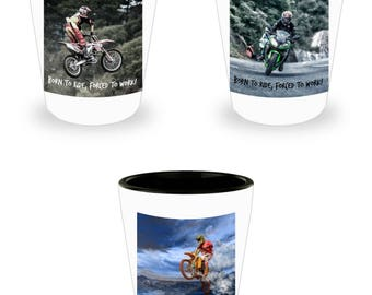 Shot Glass Motorcycle Set of 3! Biker Accessory, Born to Ride, Forced To Work Funny Shot Glass Gift Pack on White Ceramic Shot Glasses